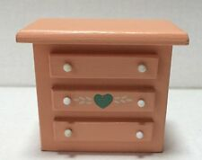 Doll House Furniture Miniature Dresser Peach Color Heart Design Country Cottage