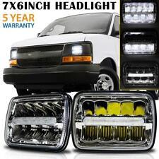 "2x 7x6"" 5x7"" LED Headlight Chrome DRL Hi-Lo Beam for Chevrolet Express Cargo Van"
