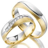 2 x 375 Trauringe Gold Bicolor Weißgold Eheringe Massiv Paarpreis LM.10.375
