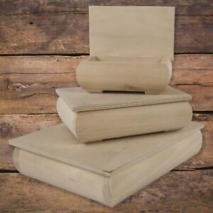 Plain Unfinished Wooden Trinket Keepsake Boxes to Decorate Decoupage   3 Sizes
