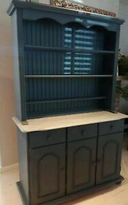 Navy blue welsh dresser display cabinet (10 miles free delivery)