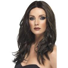 Haut femme brun foncé perruque longue ondulée superstar d'adieu fashion robe fantaisie beauté fun