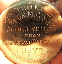 RETIREMENT,HAWAII FIRE CHIEF ENGRAVED POCKET WATCH ,1947,SAND ISLAND STATION,ETC