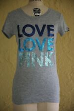 PINK Victoria's Secret T Shirt Top Blouse Gray Blue Glitter LOVE LOVE PINK Sz S