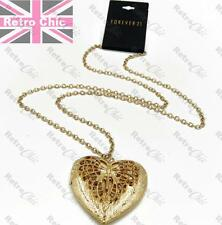 Big 6cm Heart Locket Vintage Filigree Butterfly Long Chain Necklace Gold Fashion