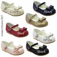 Baby Girls& Girls Patent Mary Jane Flat Bow Front Shoes UK Size 2(EU18)-6(EU23)