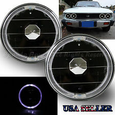 """WHITE LED HALO FOR CHEVY/GMC! 5.75"""" H5006 H4001 H5506 CLEAR REFLECTOR HEADLIGHTS"""