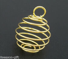 250PCs Gold Plated Spiral Bead Cages Pendants Findings 18x15mm