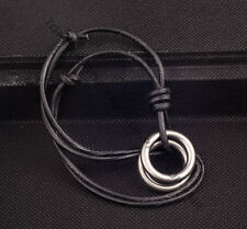 Black Vintage Men's Adjustable Beach Leather Choker Necklace 2 Rings Pendant