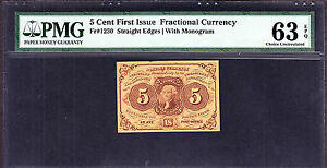 US 5c Fractional Currency Note Straight Edges FR 1230 PMG 63 EPQ Ch CU (004)
