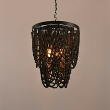 Dark Brown Wooden Bead 3-Light Chandelier Living Room Ceiling Pendant Lighting