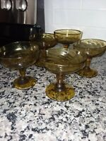 Dessert Cups Honey Yellow Depression Set Of Five Brown Glass Sherbet/Ice Cream