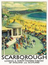 ART PRINT POSTER TRAVEL TOURISM SCARBOROUGH BEACH RESORT YORKSHIRE UK NOFL1227