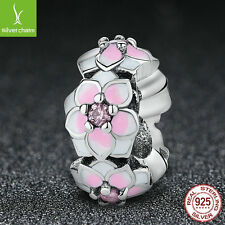 Authentic 925 sterling silver Spacer charm Magnolia Bloom, Pink Enamel Bead
