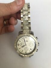 Fossil Wrist Watch Womens JR1420 Stainless Steel Pearl White Needs Battery Nice