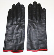 Georges Morand vintage black with red trim leather gloves 6.5