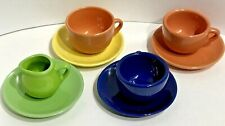 Vintage SCHYLLING Play Tea Set 3 Cups 4 Saucers 1 Creamer Child Toy Colorful