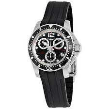 longines chronograph black dial mens watch l37434562 stainless steel