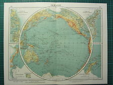 1921 MAP ~ OCEANIA ~ GREENLAND VICTORIA LAND POLYNESIA