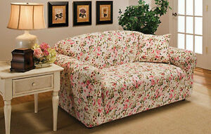 JERSEY STRETCH LOVESEAT  SLIP COVER--PINK FLORAL-IN 9 SOLIDS & 3 PRINTS-GOOD BUY