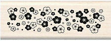 Inkadinkado Calico Border Wood Stamp Rubber Mounted Floral  NEW