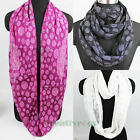 Fashion Women Silver Metallic Polka Dot Print 2-Layer Infinity Circle Loop Scarf