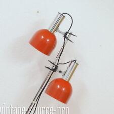 60er 70er Jahre Vintage Chrom Boden Leuchte Strahler Floor Lamp 2 flammig Orange