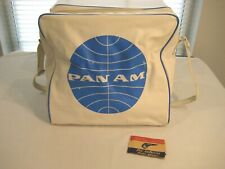 Vintage Pan Am American Airlines Travel Tote Bag & Air Mail Stickers Carry On