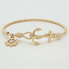 Anchor Nautical Bangle Bracelet GOLD Twisted Metal Opening Beach SeaLife Jewelry