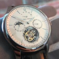 Sea-Gull Mens Flying Tourbillon Watch with Alligator Strap