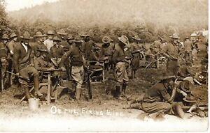 """~1910's WV WEST VA - RPPC - WWI Soldiers On the Firing Line """"Keeping Score"""""""