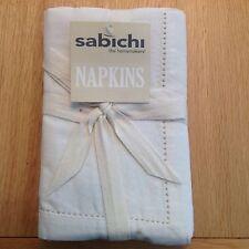 Sabichi lot de 8 crème lin trou stitch serviettes/serviettes 40cm x 40cm
