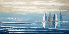 peinture au couteau sur toile tableau marin voiliers bateau et mer toile châssis