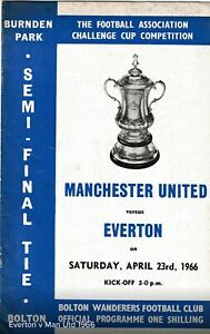 Manchester United V Everton 1966 Fa Cup Semi Final Programme Man Utd