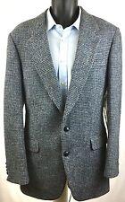 HARRIS TWEED Coat Tails VTG 2 Button Gray Check Scottish Sport Coat Jacket 38R