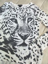 FOREVER 21 Gray/White Animal Print Pullover Sweater, Hi-Lo Hem, LS, Jewel Neck,L