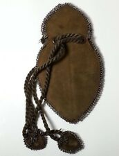 ANTIQUE VICTORIAN LEATHER BEADED PURSE BAG