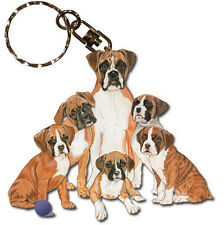 Boxer Wooden Dog Breed Keychain Key Ring