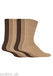 6 Pairs Mens Gentle Grip Socks Size 6-11 Uk, 39-45 Eur MGG103 Plain Beige/Brown