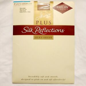 Hanes Plus Pantyhose Silk Reflections 2X Little Color Control Top Sandal Sheer