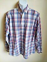 Eddie Bauer Classic Fit blue plaid long sleeve button front shirt mens TL