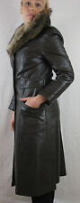 Peter Caruso Vintage 70s Brown Long Leather Coat Jacket w/ Fur Collar, Women's S