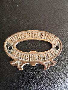 Antique Original Cast Brass Safe Sign Plate Plaque Withy Grove Stores Manchester