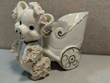 Vintage Porcelain Piggy With Baby Carriage Planter - RARE