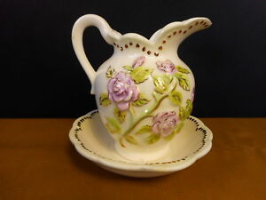Small Vintage Pitcher Pink Roses Flowers Gold not for use