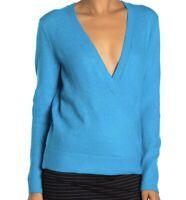 Vince Camuto Women's Surplice Neck Wrap Sweater Shockwave Blue Medium NWT N1111