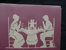 "Vtg. Hand Cut Paper Silhouette Folk Art ""Family Saying Grace"", signed"