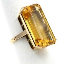 14K YELLOW GOLD EMERALD CUT 20.51 CT CITRINE COCKTAIL RING SIZE 5.25- #482B-4