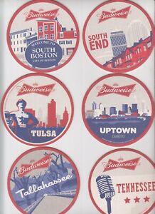 6 rare Budweiser / Anheuser-Busch coasters Bierdeckel (2)