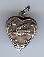 VINTAGE STERLING SILVER DOVE WITH OLIVE BRANCH PUFFY HEART CHARM